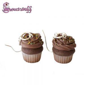 chocolade cupcake oorbellen
