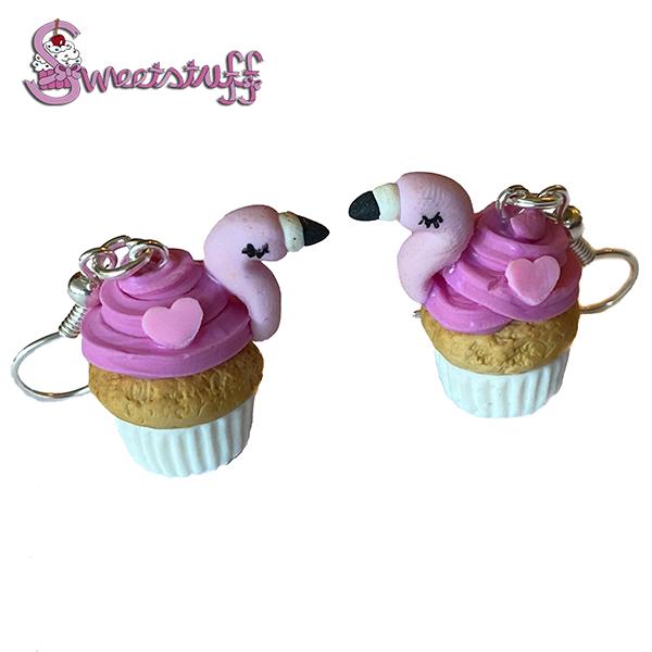 flamingo cupcake oorbellen