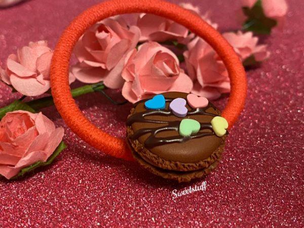 haarelastiek macaron chocola